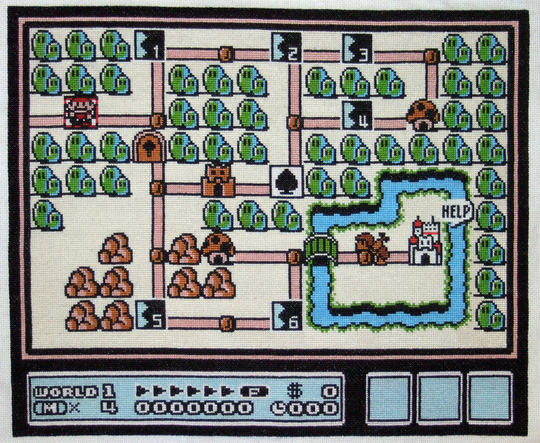 a cross stitch screenshot from Super Mario Brothers 3, of course