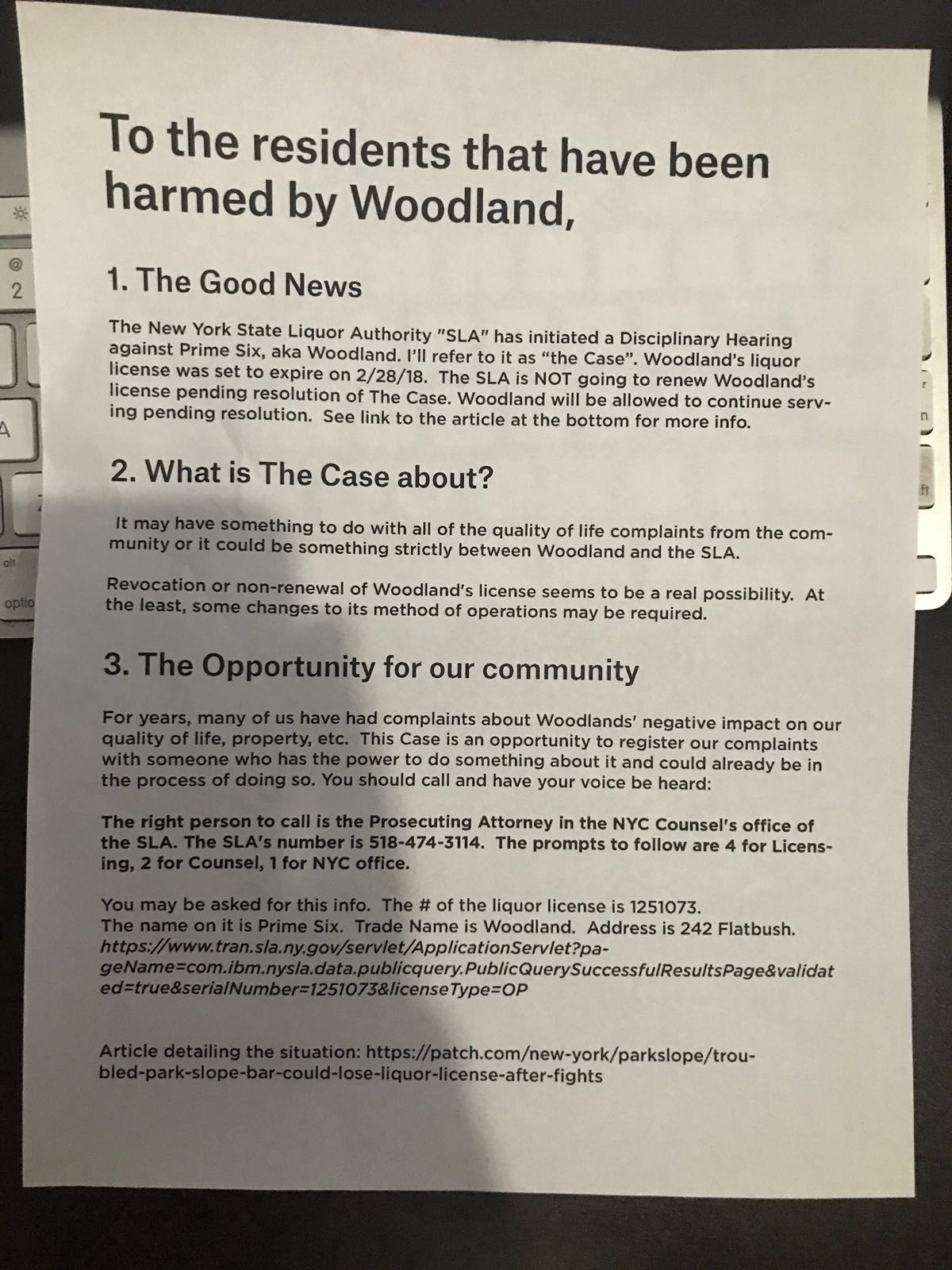 Woodland Settles With SLA On Liquor License Renewal - BKLYNER