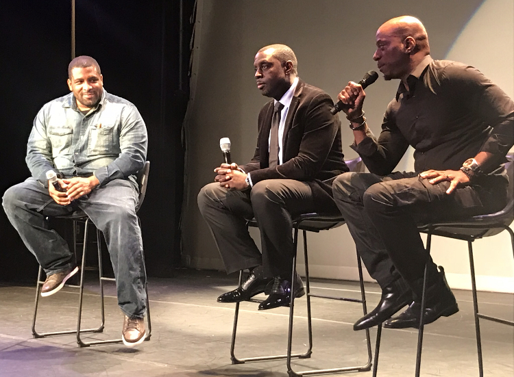 Attika J. Torrence, Joseph C. Grant Jr. and Rob Stapleton address following the Brooklyn debut of The Stuff during The Bedford Stuyvesant Crown Heights Film Festival at the Billie Holiday Theatre.
