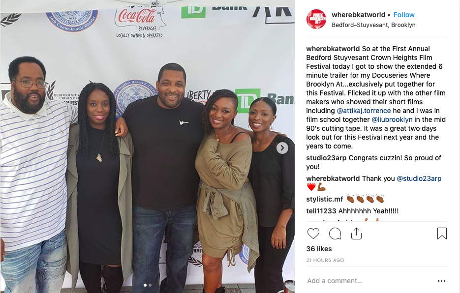 Co-founder Attika J. Torrence and attendees of the Bedford Stuyvesant Crown Heights Film Festival on the red carpet outside of Restoration Plaza.