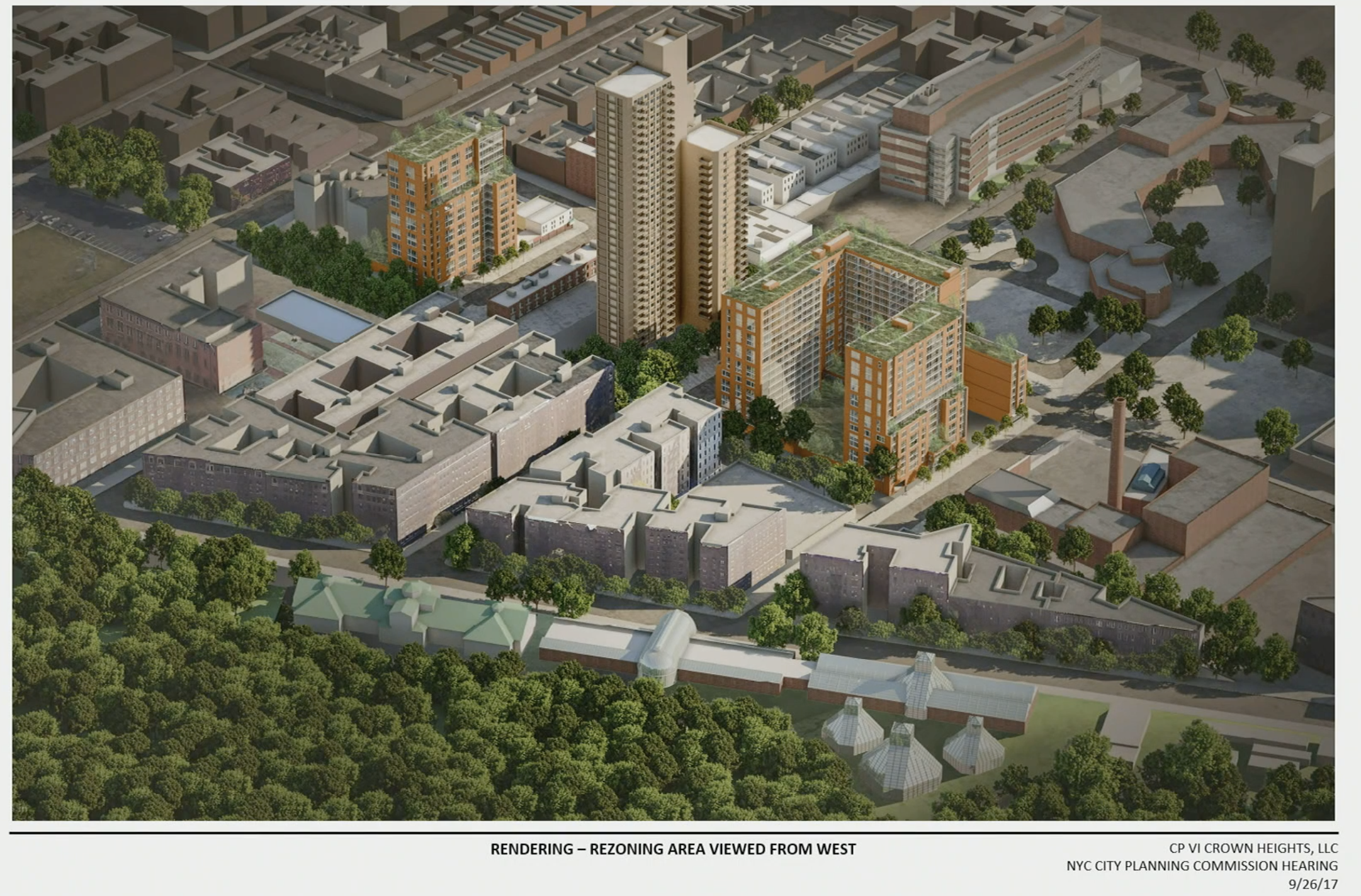 Renderings used in a presentation for Franklin Avenue Rezoning on 09/26/2018. The Lincoln/Continuum site of the old Spice Factory is to the bottom right with the tall chimney stack.