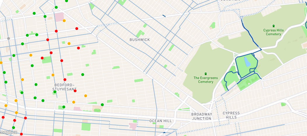 Citi Bike coverage in parts of Northern Brooklyn. (Photo: Screenshot Citi Bike website)