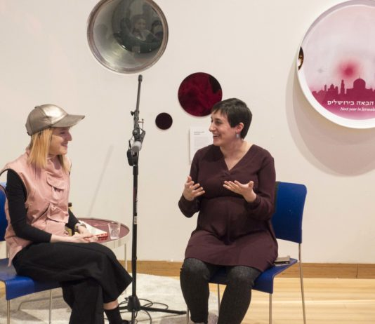 Artist Nitzan Bartov and journalist Miriam Kramer discuss what cultural and religious observances could look like for Jews in space at the Brooklyn Children's Museum. (Photo congress: Mushka Lightstone/Tech Tribe)