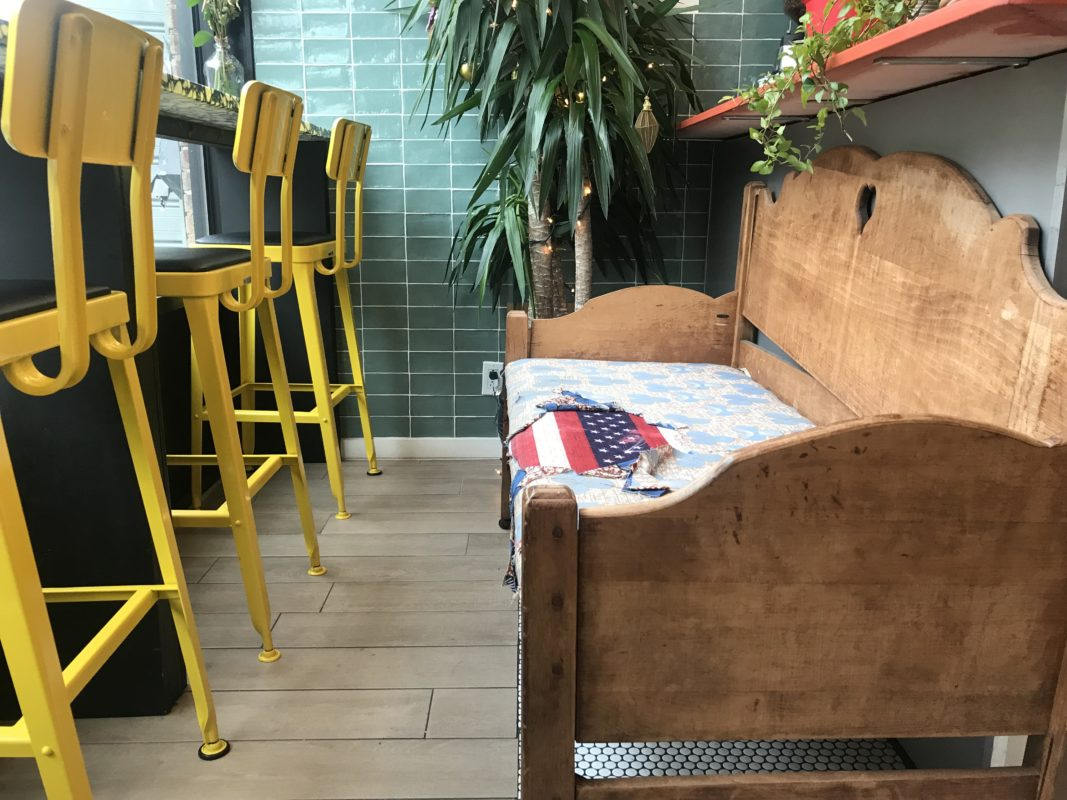 Shop Show owners at Lakou found this homemade sofa at a cafe in Newark, NJ that closed.