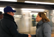 Public Advocate Candidate Melissa Mark Viverito on the Q train platform at the Newkirk Avenue station in Flatbush (Photo credit: Perri Litton)