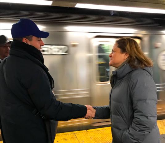 Public Advocate Candidate Melissa Mark Viverito on the Q train platform at the Newkirk Avenue station in Flatbush (Photo credit: Perri Litton)