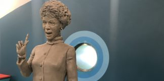 A Sterling Brown Jr. maquette of the 8' Shirley Chisholm statue to be erected in Brower Park in Crown Heights.