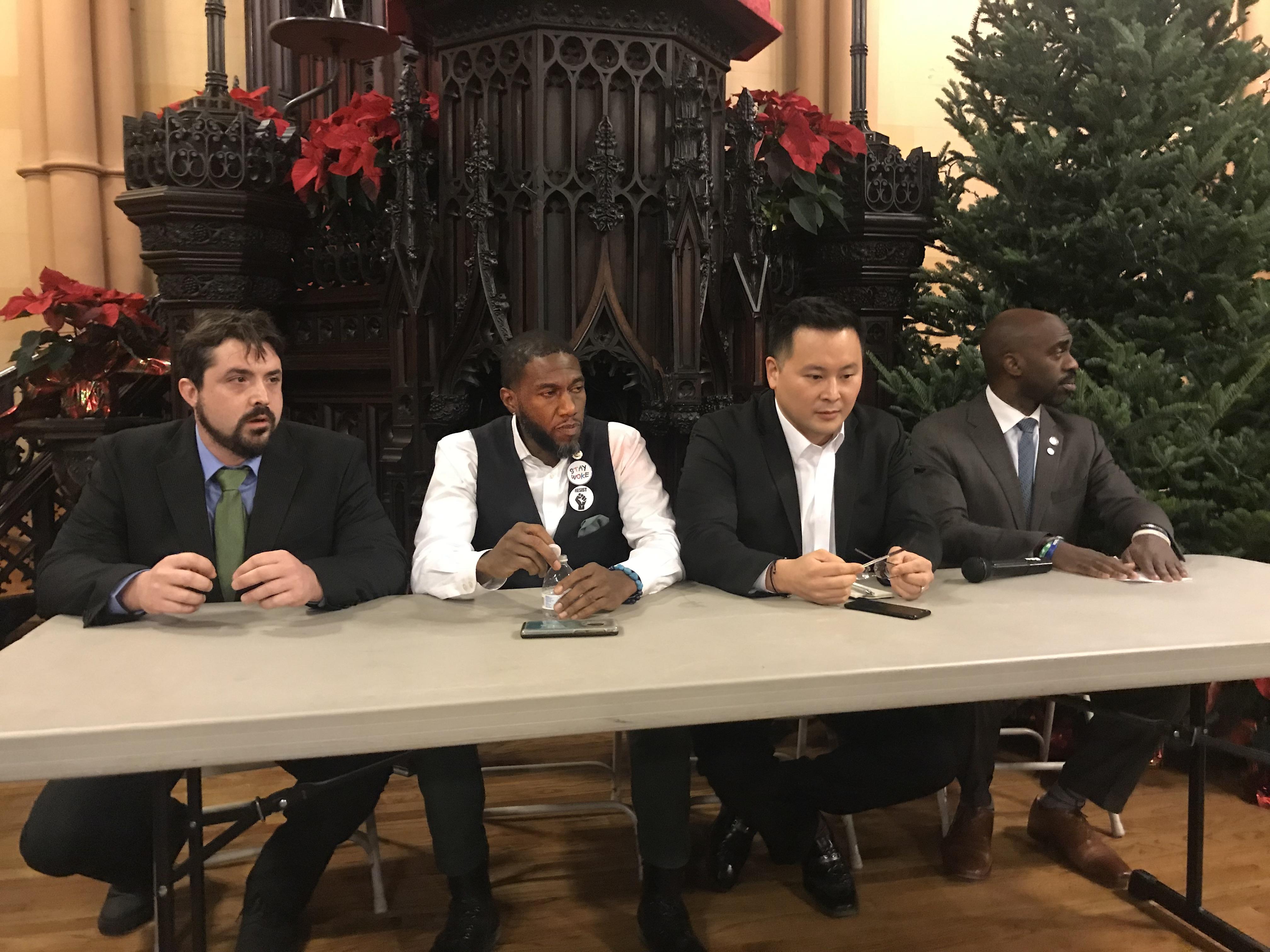 Daniel Christmann, Councilman Jumaane Williams, Assemblyman Ron Kimand Assemblyman Michael Blake (Photo: Kadia Goba/Bklyner)