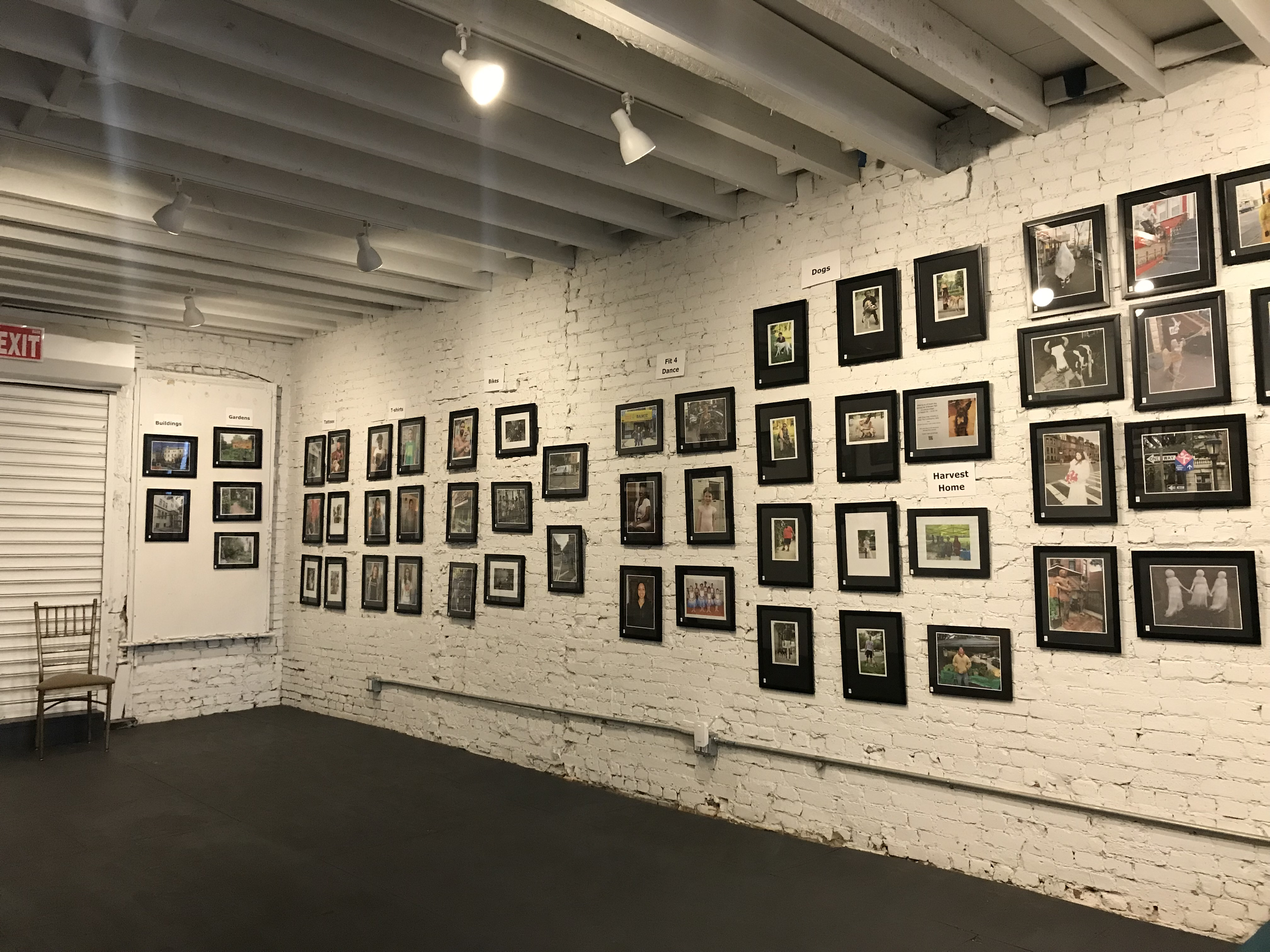 The Nostrand Avenue Improvement Association's photo exhibit in Studio 1 of the The Black Lady Theatre.