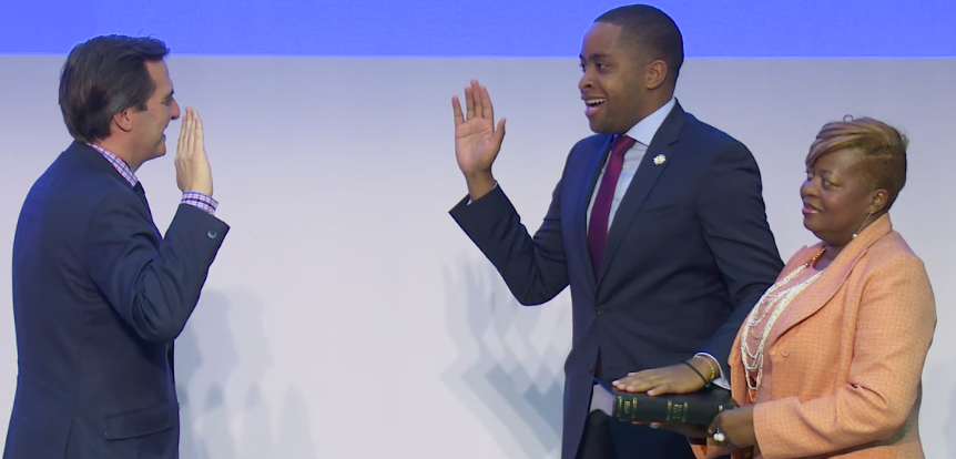 State Sen.Zellnor Myrie at his in-district inauguration with his mother Marcelina Cummings and State Sen. Michael Gianaris (Screenshot: Myrie's live Twitter stream)