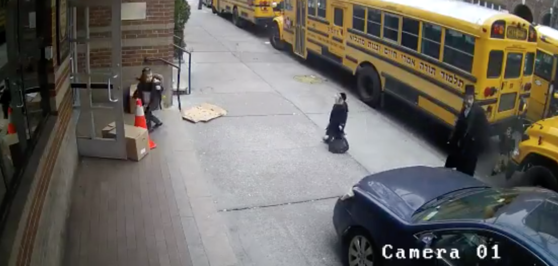 Car Drives On Sidewalk To Avoid Waiting For School Busses