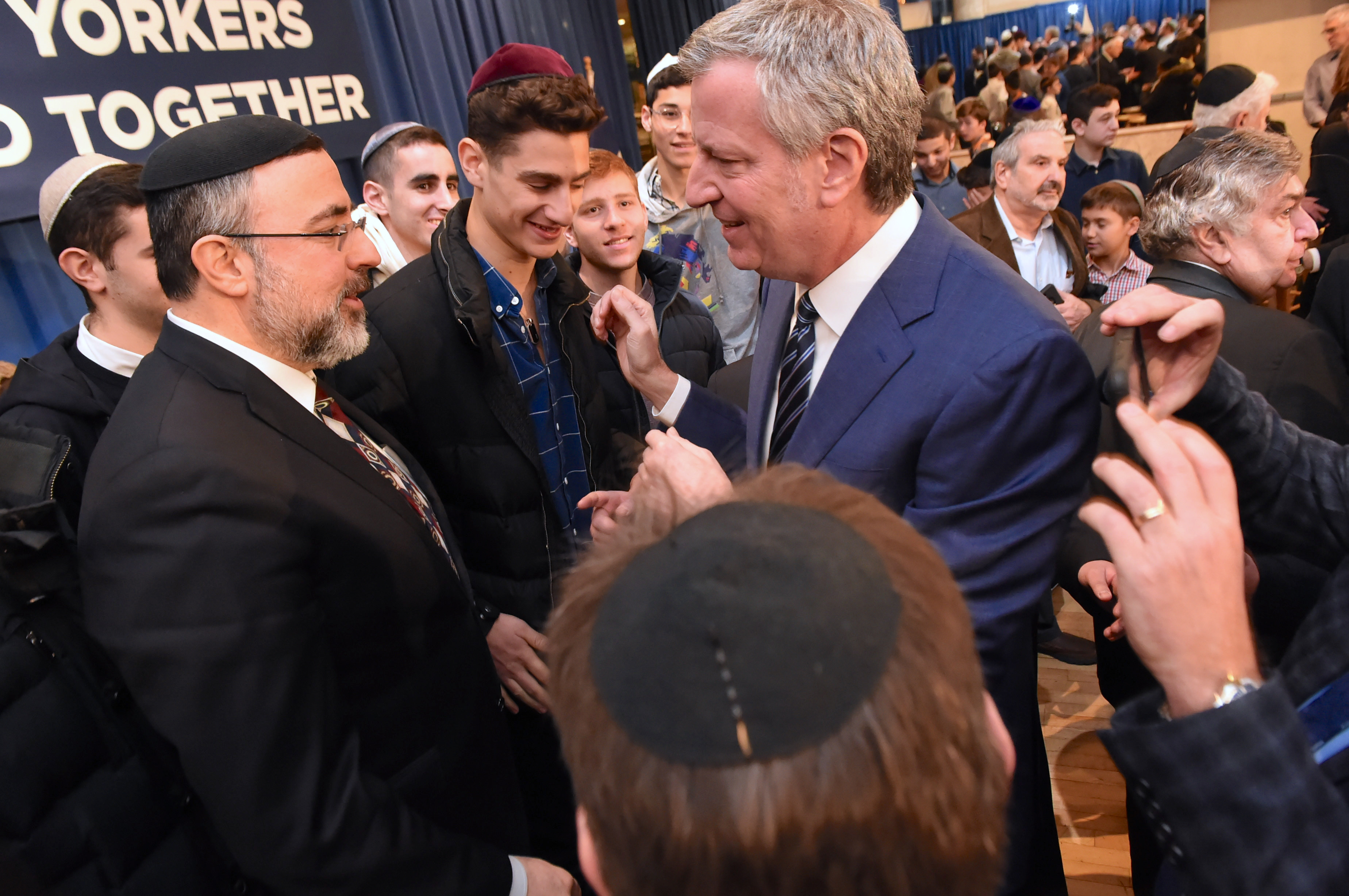 Mayor Bill de Blasio during a rally against anti-Semitism at Kingsway Jewish Center (Photo: Todd Maisel)