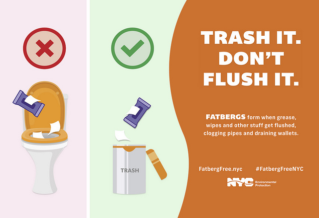 Trash It. Don't Flush It. A New York City campaign to teach New Yorkers how to properly discard items detrimental to the city's sewage system.