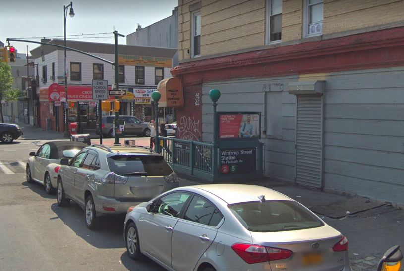 Southbound Winthrop Street 2 and 5 train station will shutter between March 11 to June, 2019. (Screenshot: Google Maps)