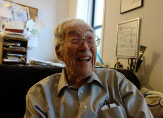 Cartoon artist George Booth at his home in Crown Heights, Brooklyn (Photo: Kadia Goba/Bklyner)