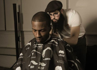 Levi Aronow at work at ( ) Barbershop. (Photo: Instagram of The Railroad Barber)