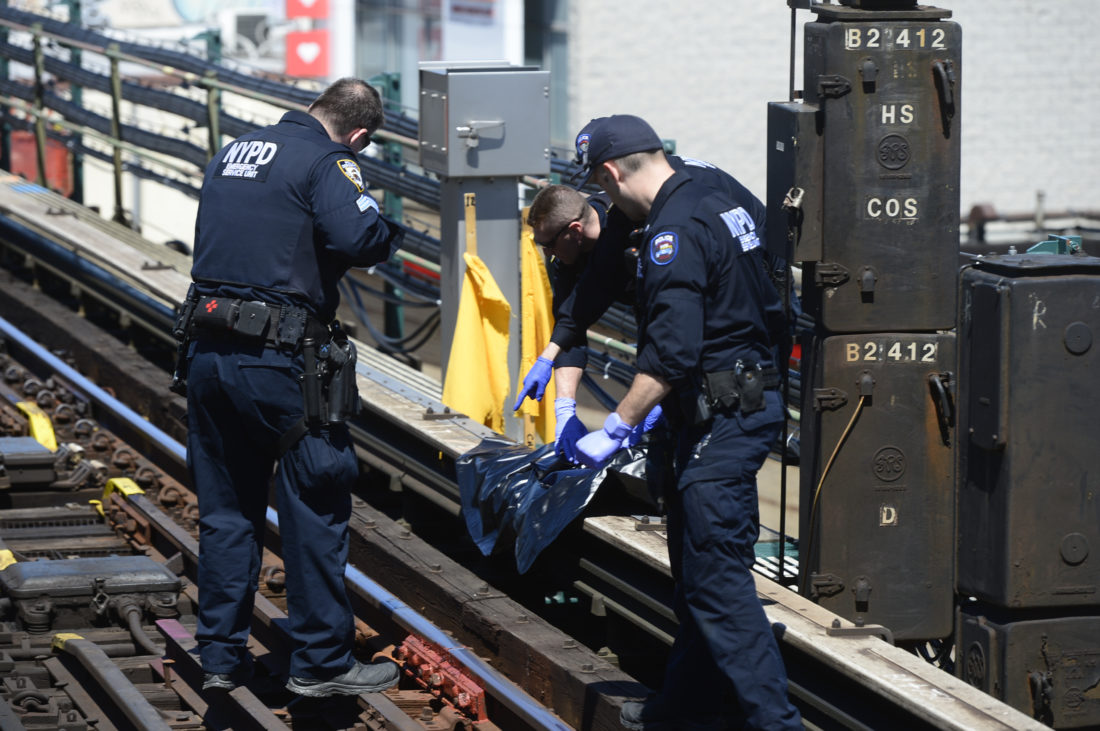 Contractors working on electrical work on Kings Highway and McDonald Avenue on the elevated F train line, found body parts and personal belongings of a man struck and killed by a train Monday night. Service was interrupted.