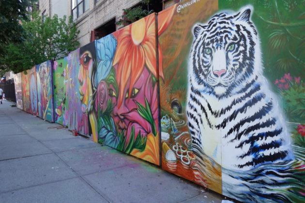 Urban Jungle, the May theme for the 17-panel art exhibit at Underhill Walls (Kadia Goba/Bklyner)