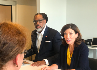 City Councilman Robert Cornegy and Lt. Gov. Kathy Hochul at Per Scholas in Bedford Stuyvesant to highlight the state's new $175 million initiative to advance workforce development Photo: Kadia Goba/Bklyner
