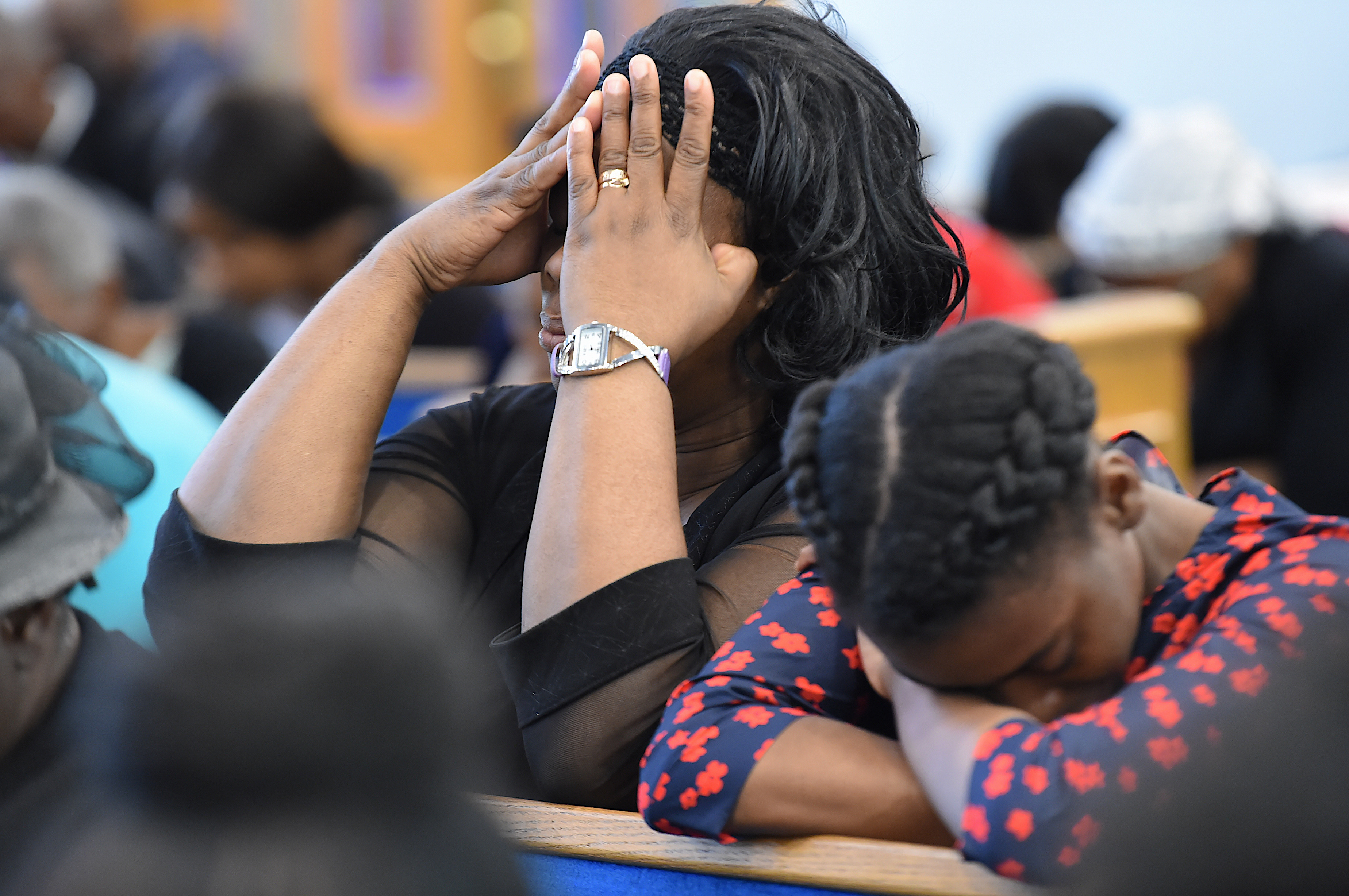 A congregation in prayer during Thrive NYC's Faith Weekend at the East New York Seventh Day Adventist Church  (Todd Maisel/Bklyner)