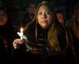 Carmen Cruz leads a vigil for her son, Erick Díaz-Cruz, who was shot in the cheek by ICE agents in front of his family's Gravesend, Brooklyn home, Feb. 16, 2020. Photo: Ben Fractenberg/THE CITY