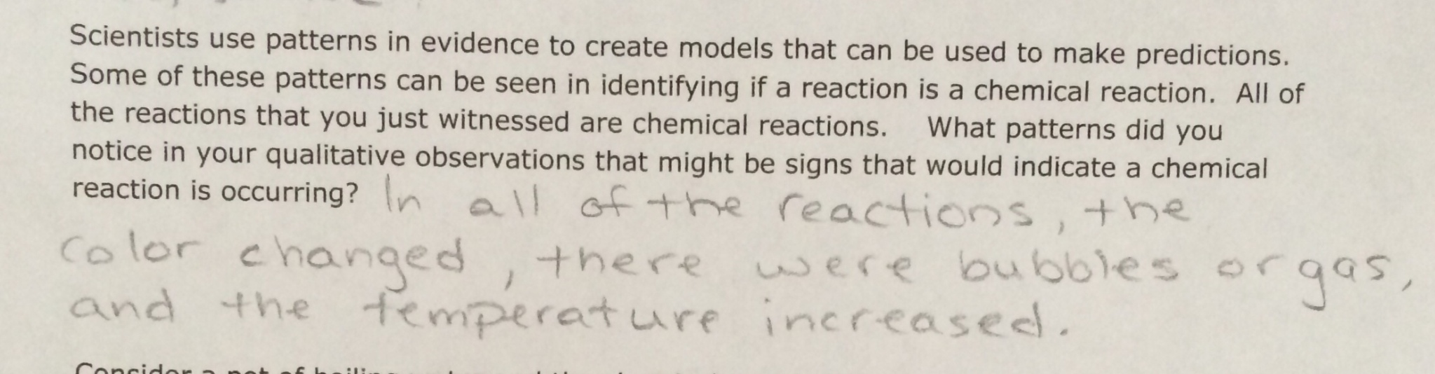 Lesson chemical reactions un notes betterlesson make sure students are not stating that getting hotter is a sign of a chemical reaction but simply that a change in temperature can indicate a chemical robcynllc Choice Image