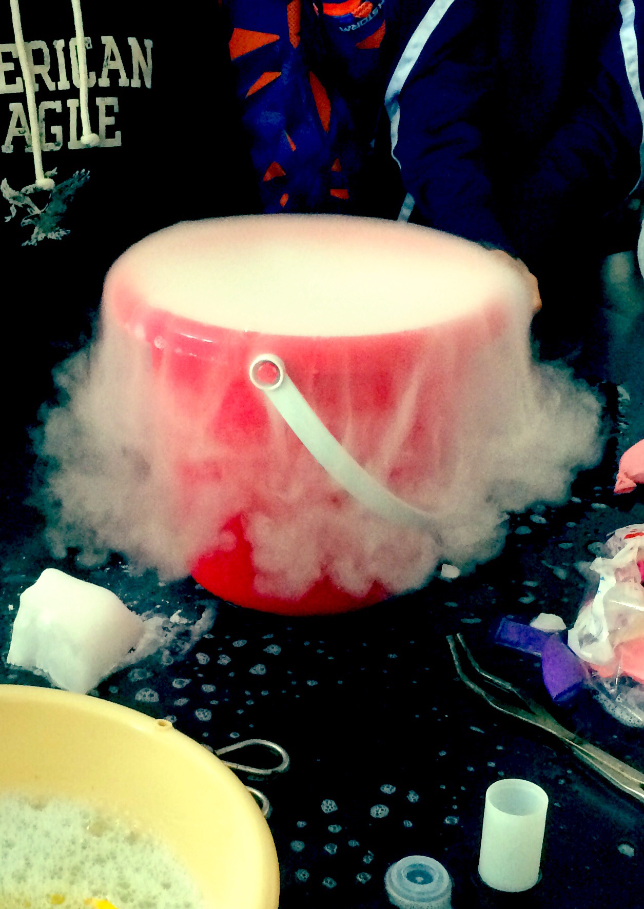 Dry ice soap bubbles video betterlesson dip the shirt in the soap mixture hold it with tension and run it over the bucket to seal the bucket with a bubble this may take a few tries robcynllc Gallery