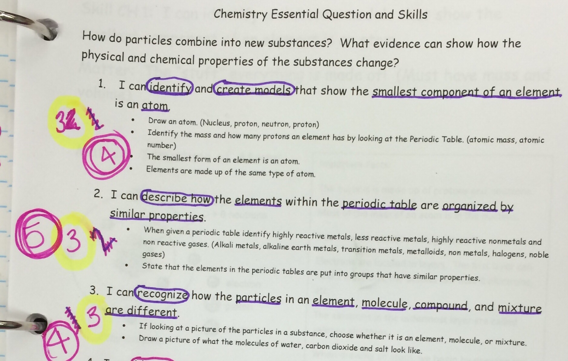Elements and compounds 6th grade science worksheets