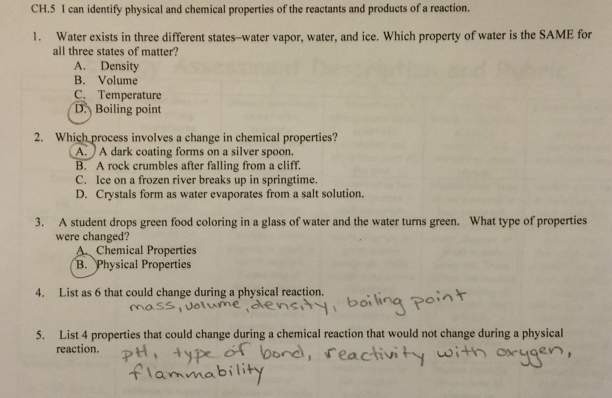 Chemical Reactions Labs Answer Key – Physical Chemical Properties Changes Worksheet