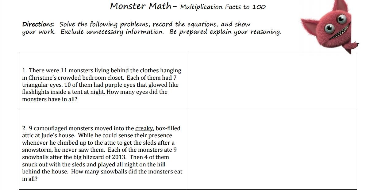 Third grade Lesson Monster Math | BetterLesson