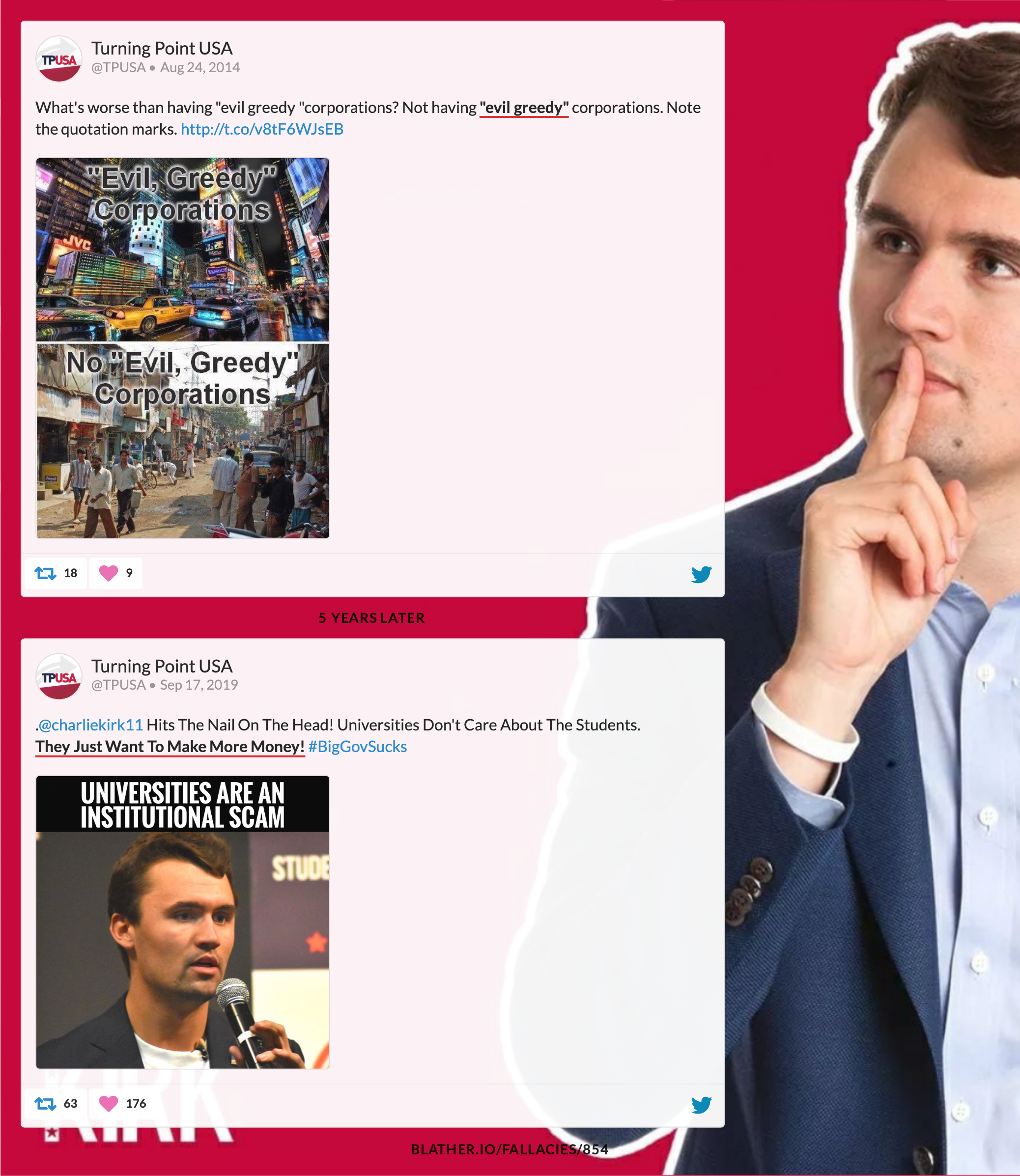 Charlie Kirk can't decide if greed is good - Blather