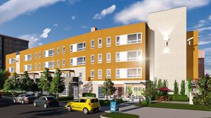 75 amory avenue jamaica plain jackson square boston residential affordable rental apartment development project mbta orange line southwest corridor jpndc jamaica plain neighborhood development corporation tise design associates rendering