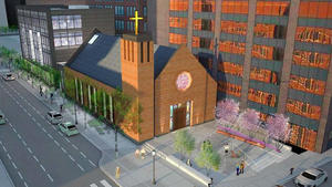 Our lady of good voyage chapel south boston waterfront seaport district development boston global investors tishman construction add inc stantec cram ferguson rendering