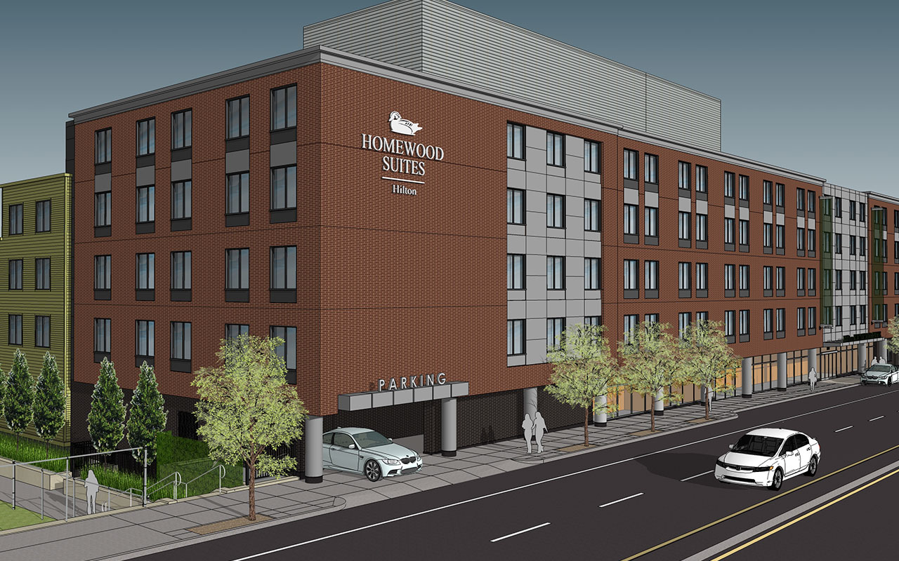Homewood suites hilton hotel development brookline village route 9 longwood medical area mbta green line opening june 2016 tocci building companies construction claremont companies developer group one partners architect