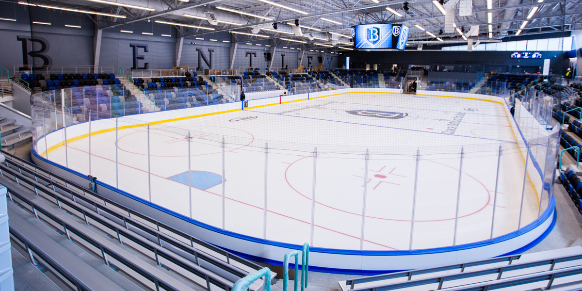 stands and a large hockey arena