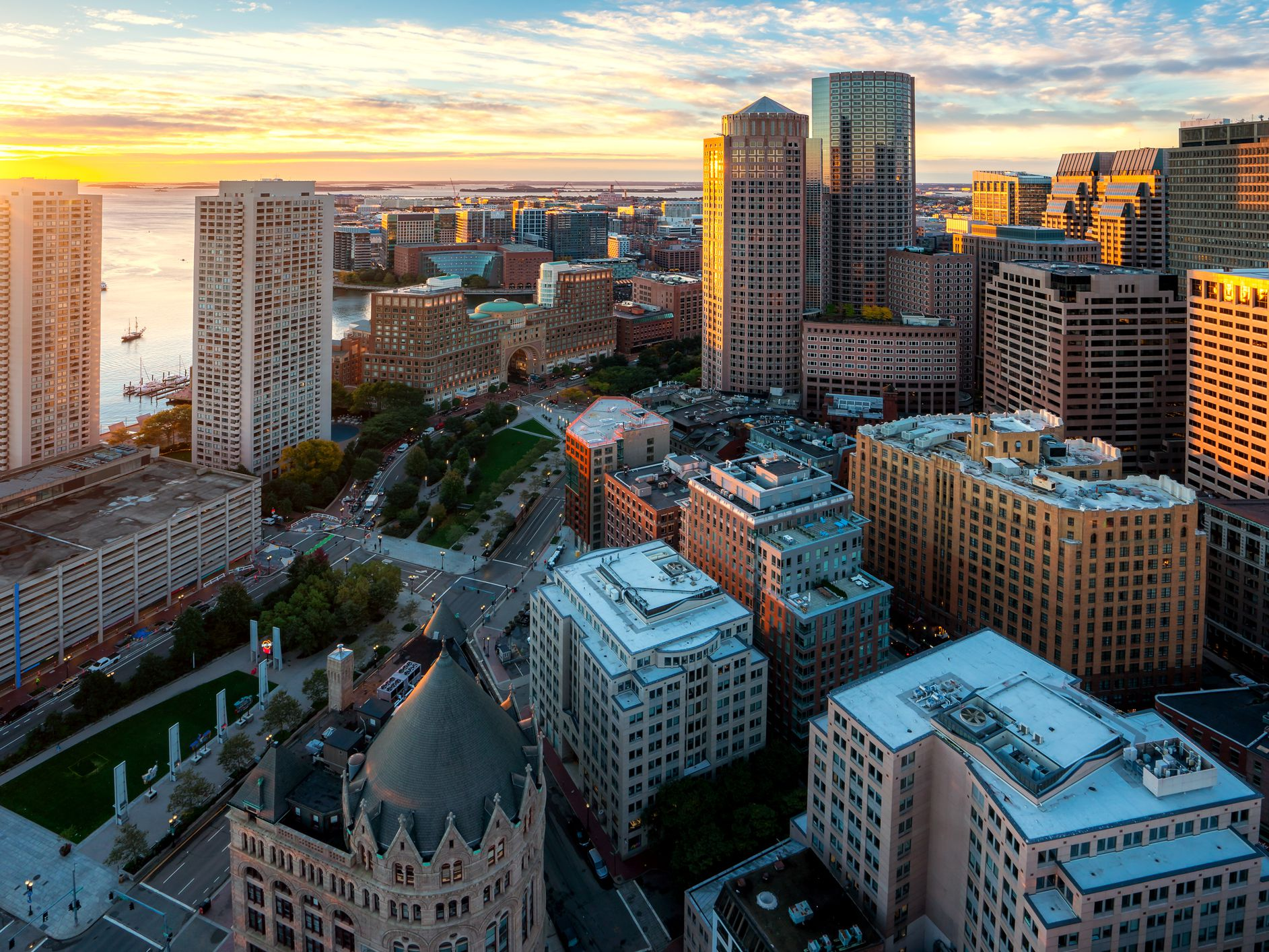 Aerial view of boston harbor and financial district at sunset in boston  massachusetts  usa  1087520112