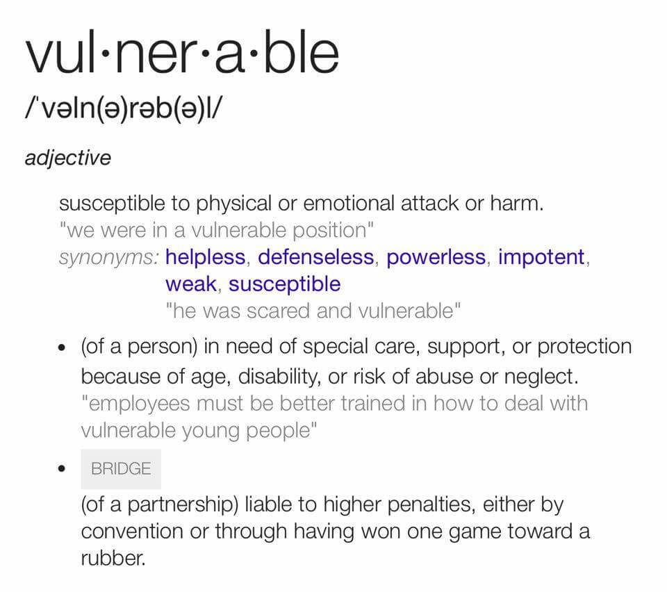 Vulnerable definition.