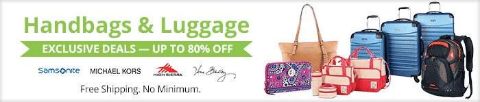 Exclusive deals up to 80% off handbags and luggage