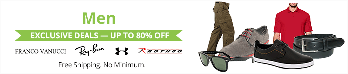 Exclusive deals up to 80% off men's clothing & accessories