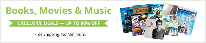 Exclusive deals up to 80% off  books, movies & music