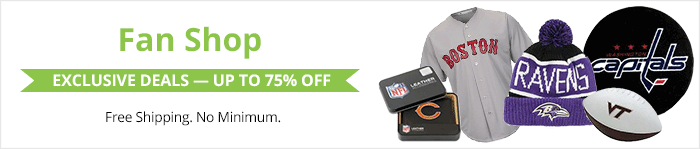 Exclusive deals up to 75% off sports fan gear
