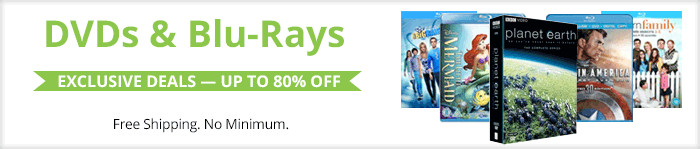 Exclusive deals up to 80% off DVDs and Blu-Rays
