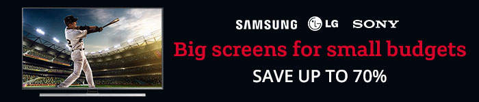 Save up to 70% on TVs