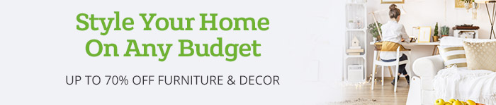 Save up to 70% on Furniture & Decor
