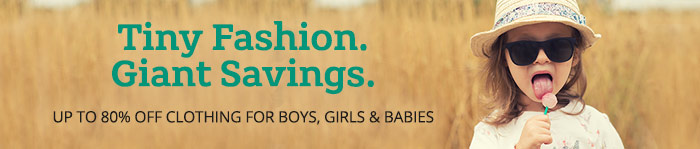 Save up to 80% on Kids' Clothing