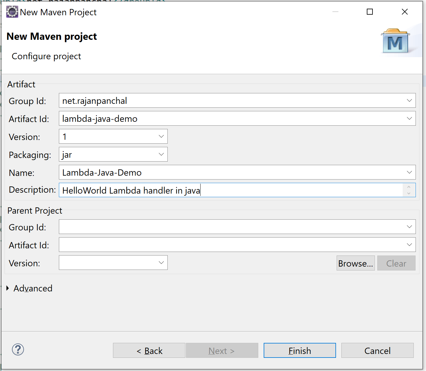 aws sdk java new maven project