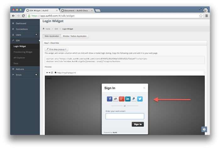 SSO social login widget