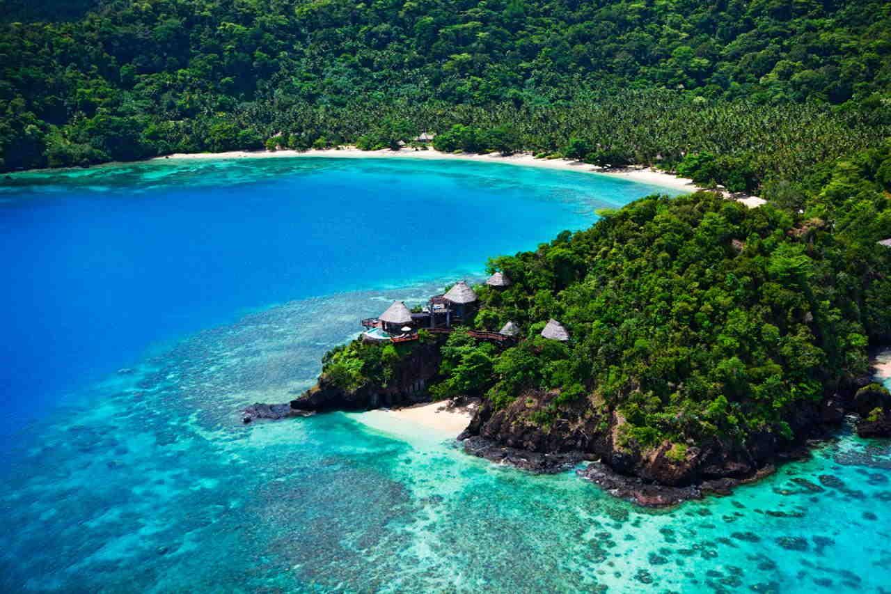Seagrass Bay es la más tranquila de las playas de Laucala y un lugar perfecto para jugar a ser Robinson Crusoe