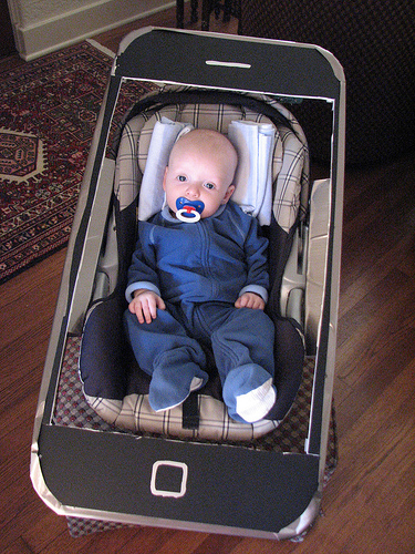 for those of you with kids still in a stroller or a carseat how about making them look like a photo on your iphone at ordinaryparentcom