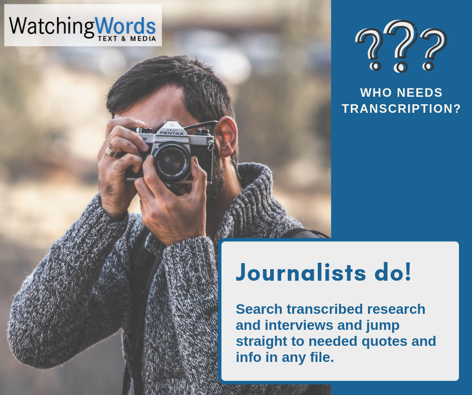 Search transcribed research and interviews and jump straight to needed quotes and info in any file